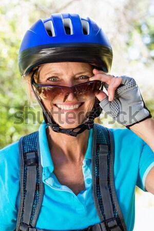 Ojciec syn rowerowe kask człowiek Zdjęcia stock © wavebreak_media