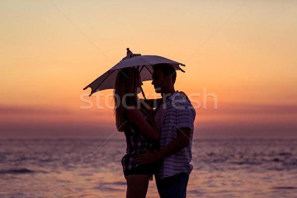 Mutlu çift gülen plaj kadın adam Stok fotoğraf © wavebreak_media