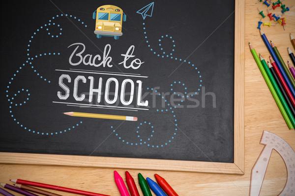 összetett kép vissza az iskolába tábla asztal iskola Stock fotó © wavebreak_media