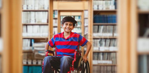 Obraz chłopca posiedzenia wózek szkoły Zdjęcia stock © wavebreak_media