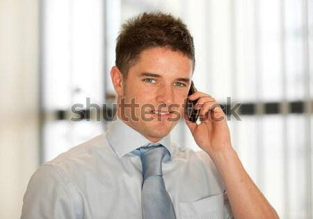 Portré mosolyog technikus telefon dől torony Stock fotó © wavebreak_media