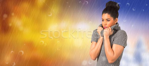 összetett kép csinos lány tél ősz Stock fotó © wavebreak_media