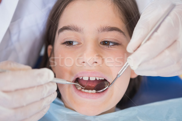 Dentist using dental explorer and angled mirror  Stock photo © wavebreak_media