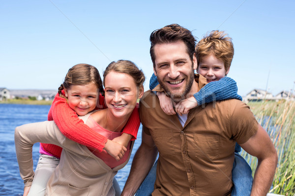 Foto d'archivio: Felice · genitori · bambini · campagna · famiglia · uomo