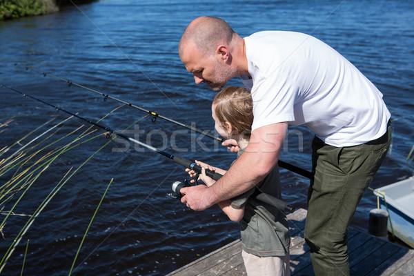 счастливым человека рыбалки сын весны Сток-фото © wavebreak_media