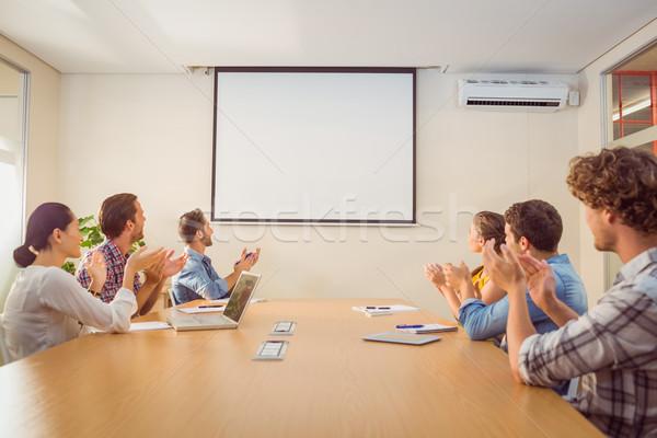 внимательный бизнес-команды конференции служба компьютер человека Сток-фото © wavebreak_media
