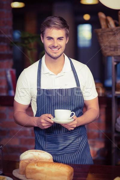 Yakışıklı garson fincan kahve portre Stok fotoğraf © wavebreak_media