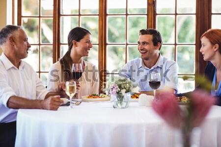 笑顔の女性 ワイン ランチ レストラン ビジネス 女性 ストックフォト © wavebreak_media