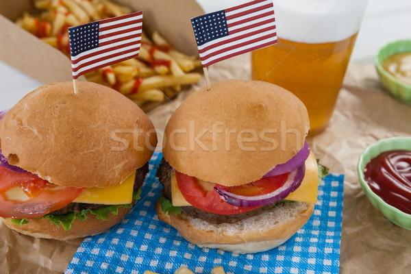Hamburgerek díszített negyedike barna papír sör minta Stock fotó © wavebreak_media