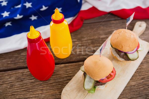 Bandera de Estados Unidos mesa de madera primer plano alimentos azul bandera Foto stock © wavebreak_media