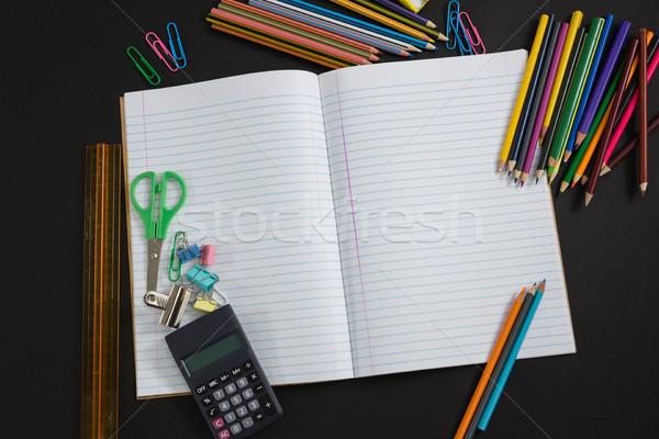 Różny przybory szkolne czarny widoku sztuki edukacji Zdjęcia stock © wavebreak_media