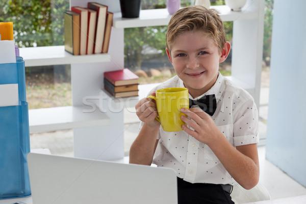 肖像 ビジネスマン 飲料 コーヒー 黄色 マグ ストックフォト © wavebreak_media