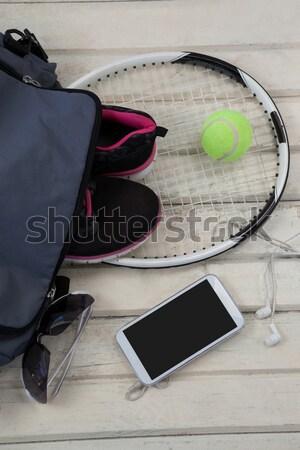 Stock fotó: Kilátás · szürke · táska · sportok · cipők · tenisz