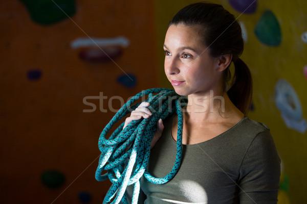 Woman with rope in fitness studio Stock photo © wavebreak_media