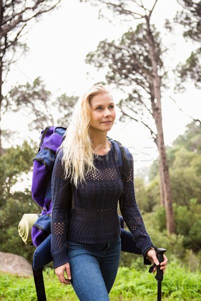 Kadın uzun yürüyüşe çıkan kimse yürüyüş sırt çantası kadın yaşam tarzı Stok fotoğraf © wavebreak_media