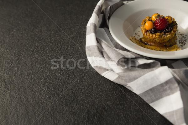 Tablicy śniadanie zboża owoce puchar fitness Zdjęcia stock © wavebreak_media