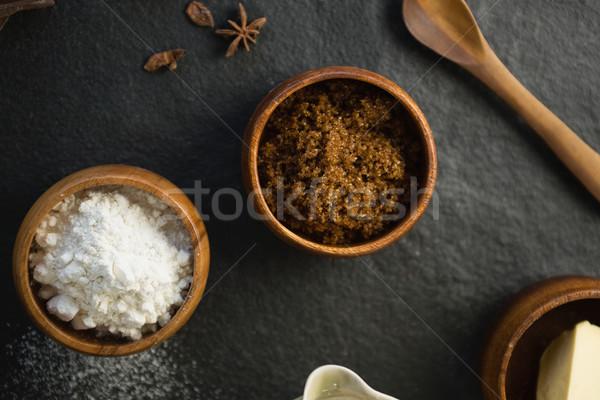 Ver ingrediente farinha tabela madeira Foto stock © wavebreak_media