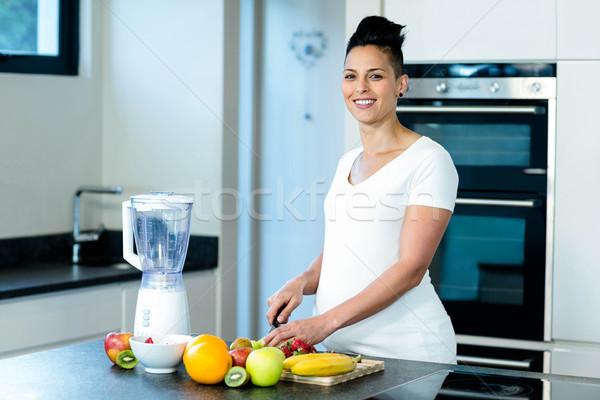 Portre hamile kadın meyve gülen Stok fotoğraf © wavebreak_media