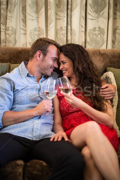 Portré boldog pár pirít pezsgő fuvolák Stock fotó © wavebreak_media