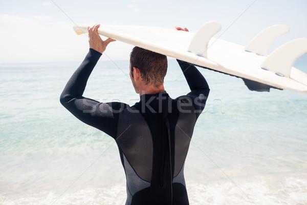 вид сзади Surfer доска для серфинга голову пляж Сток-фото © wavebreak_media