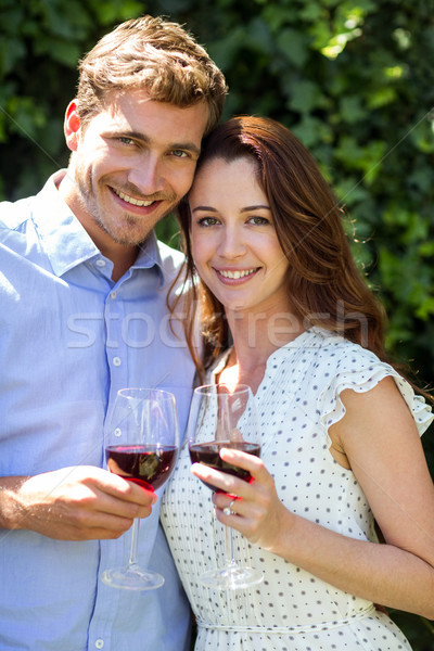 Portrait of couple holding wineglasses at front yard Stock photo © wavebreak_media