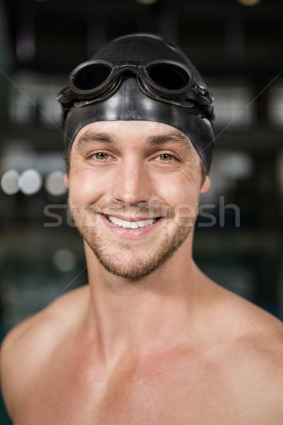 Portré úszó visel úszik védőszemüveg sapka Stock fotó © wavebreak_media