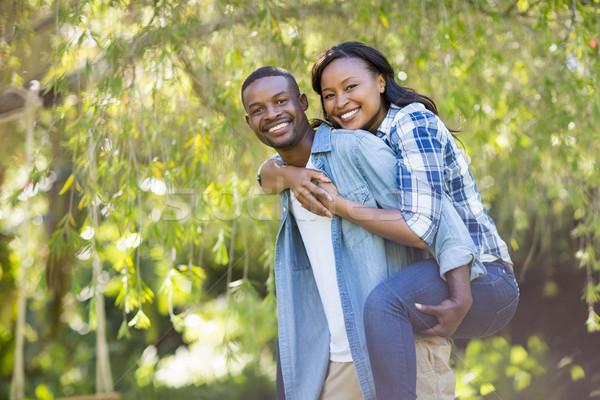 Szczęśliwy para stwarzające wraz parku kobieta Zdjęcia stock © wavebreak_media