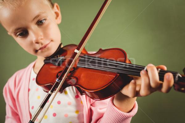 Dziewczyna gry skrzypce zielone dziecko Uwaga Zdjęcia stock © wavebreak_media
