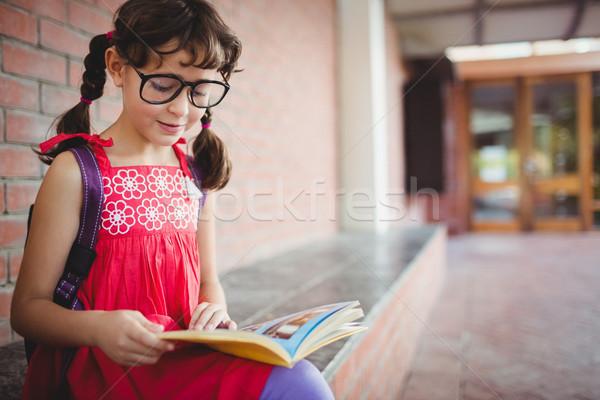 Seated schoolgirl reading a book Stock photo © wavebreak_media