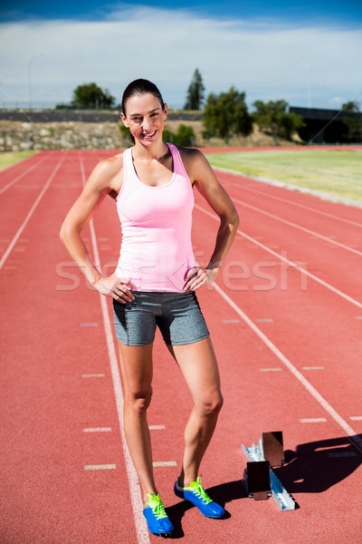 Portre mutlu kadın atlet ayakta eller Stok fotoğraf © wavebreak_media