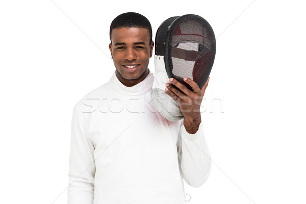 Swordsman holding fencing mask Stock photo © wavebreak_media