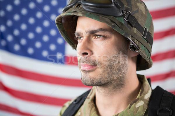Asker amerikan bayrağı adam bayrak eğlence Stok fotoğraf © wavebreak_media
