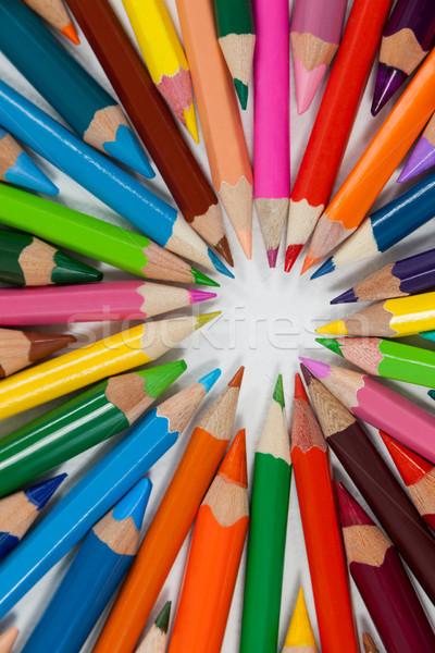 Közelkép színes ceruzák kör fehér terv Stock fotó © wavebreak_media