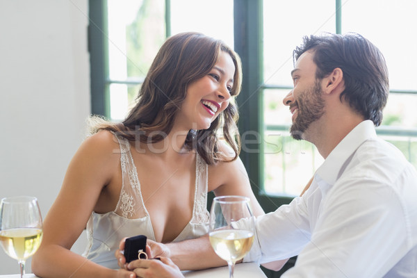 Casal sorridente olhando outro restaurante sorrir Foto stock © wavebreak_media