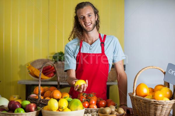 Portrait of smiling staff standing at counter Stock photo © wavebreak_media