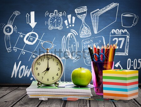 Livros caneca lápis despertador Foto stock © wavebreak_media