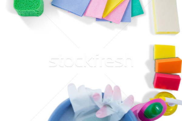 Overhead view of cleaning sponges and wipe pads Stock photo © wavebreak_media
