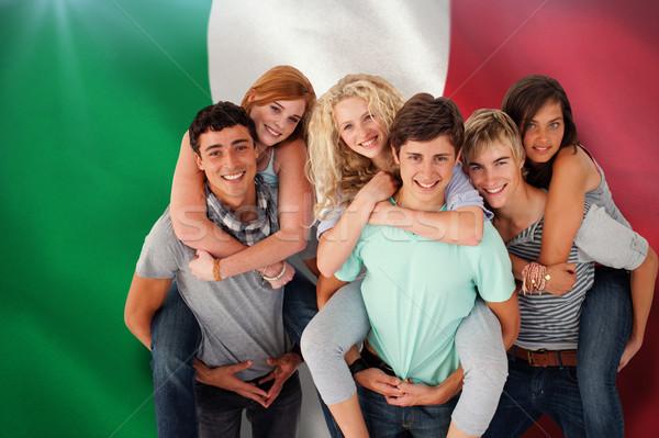 összetett kép tinédzserek barátok háton férfi Stock fotó © wavebreak_media