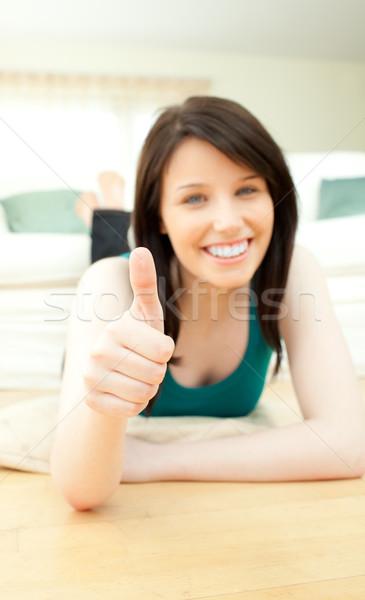 Pozitif kadın zemin ev dinlenmek Stok fotoğraf © wavebreak_media