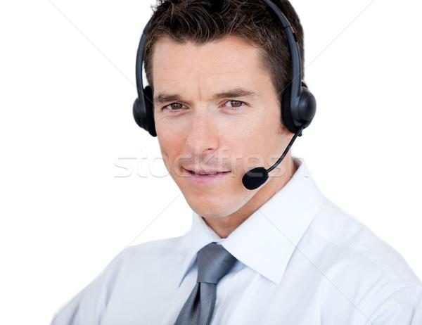 De vendas representante homem fone branco negócio Foto stock © wavebreak_media