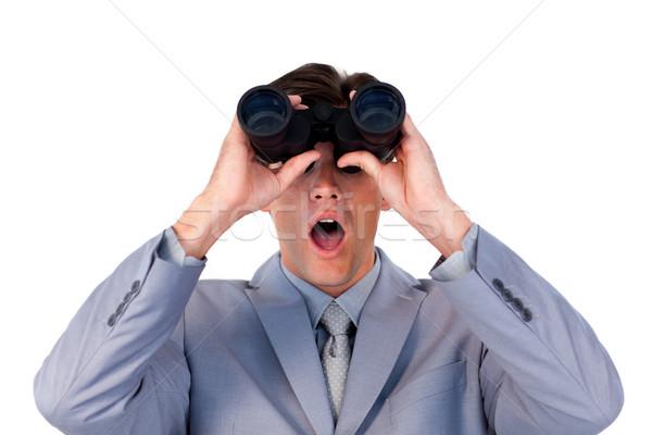 Imprenditore guardando binocolo bianco uomo felice Foto d'archivio © wavebreak_media