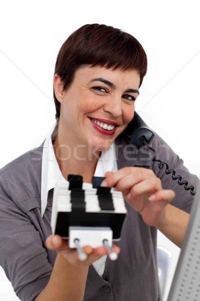 笑みを浮かべて 女性実業家 電話 コンサルティング 名刺 コンピュータ ストックフォト © wavebreak_media
