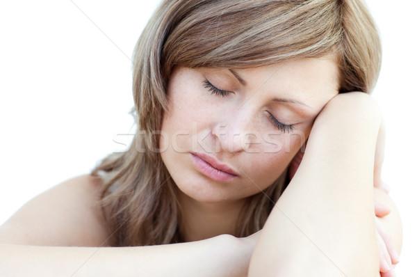 Retrato bela mulher adormecido branco mulher espaço Foto stock © wavebreak_media