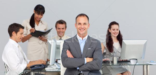 концентрированный Бизнес-партнеры рабочих менеджера передний план компьютер Сток-фото © wavebreak_media