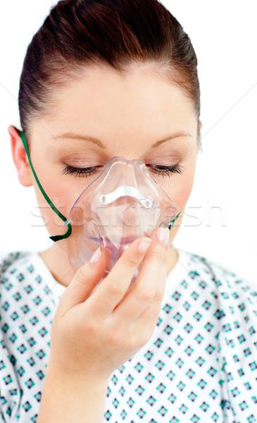 Kadın hasta oksijen maskesi beyaz tıbbi Stok fotoğraf © wavebreak_media