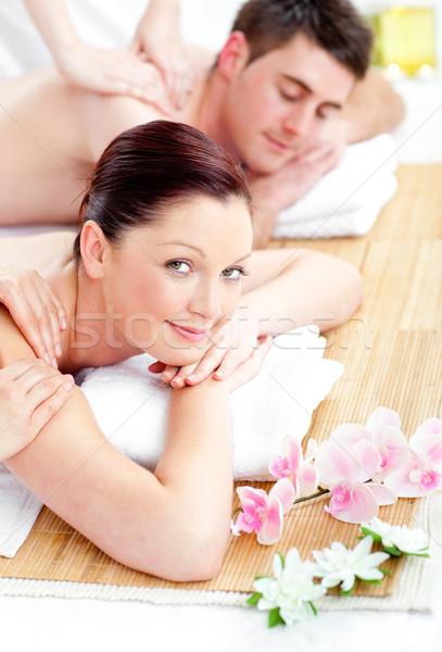 Nyugodt fiatal pér hát masszázs fürdő központ Stock fotó © wavebreak_media