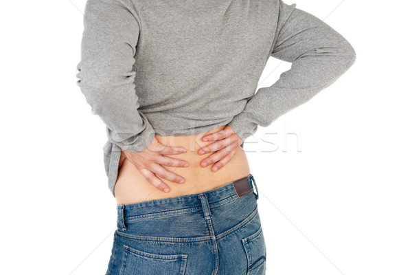 Jonge man rugpijn witte handen medische Stockfoto © wavebreak_media