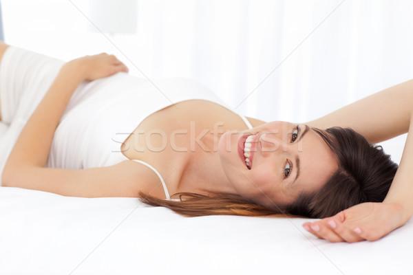 Güzel kadın yatak ev sağlık cilt Stok fotoğraf © wavebreak_media