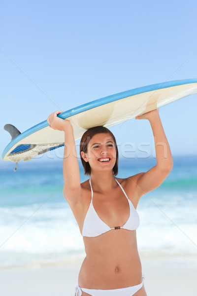 красивая женщина доска для серфинга Бикини океана молодые человек Сток-фото © wavebreak_media