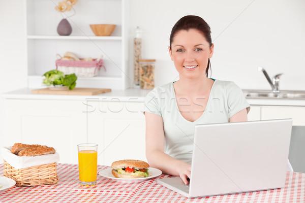 Boa aparência mulher posando relaxante laptop almoço Foto stock © wavebreak_media